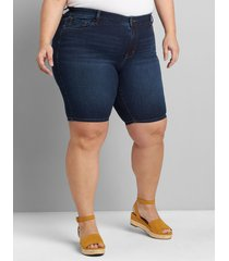 lane bryant women's straight fit high-rise denim bermuda short - dark wash 12 dark denim