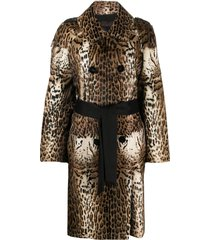 liska animal print long coat - neutrals