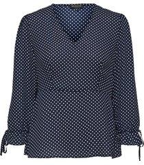blouse met 3/4 mouwen v-hals