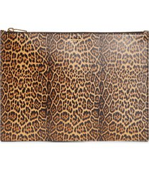 saint laurent large leopard print leather pouch - brown