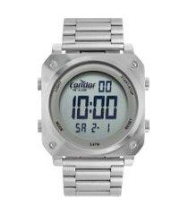 relógio digital condor masculino - cofo018aa3k prateado