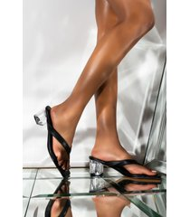 akira i am ready clear thong block heel sandal
