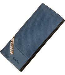 billetera, larga multifunción de tela escocesa con-azul