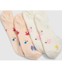 lane bryant women's 2-pack no-show socks - beach vibes onesz pale banana