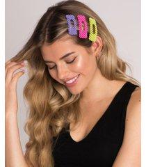 soho style beaded neon hair clip 3 piece set