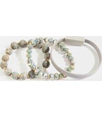lauren phone cable bracelet set - gray