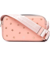 bapy by *a bathing ape® logo-stud leather shoulder bag - pink