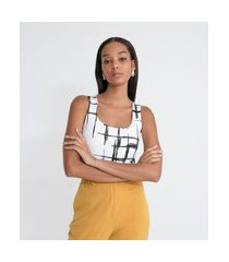 blusa regata com estampa abstrata e alça larga | cortelle | branco | gg