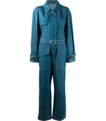 maison margiela denim belted jumpsuit - blue