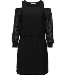 dress w. leaf cut out sleeve kort klänning svart coster copenhagen