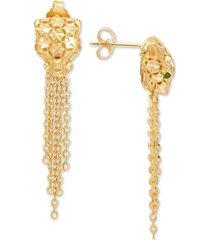 effy oro by effy panther tassel drop earrings in 14k gold