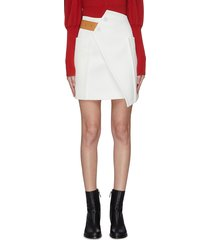 contrast belt asymmetric panel skirt