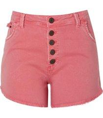 shorts sarja tinturado botoes na vista (rosa claro, 46)
