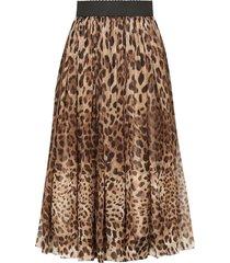 dolce & gabbana leopard-print skirt - brown