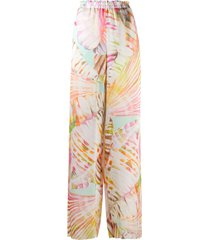 blumarine summer vibe wide trousers - neutrals