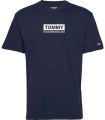 tjm white box logo tee t-shirts short-sleeved blå tommy jeans