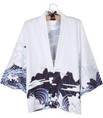 kimono cardigan verano vestido japones dama chifon dragon color blanco
