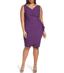 plus size women's alex evenings embellished surplice sheath dress, size 14w - purple