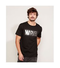 camiseta masculina marvel metalizada manga curta gola careca preta