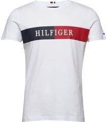 block stripe hilfige t-shirts short-sleeved vit tommy hilfiger