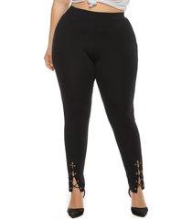 plus tamaño ranura negra diseño anudado pantalones
