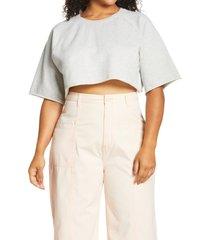 plus size women's bp. organic cotton crop sweatshirt, size 1x - grey