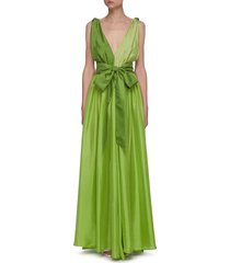 adonis colourblock belted sleeveless silk dress