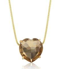 colar toque de joia coração pedra natural quartzo fumê ouro amarelo