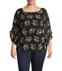 plus floral ruffle-sleeve top