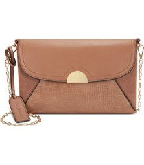 sole society blyth faux leather clutch - brown