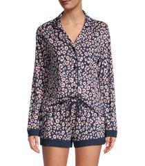 cosabella women's bella 2-piece leopard-print pajama set - navy leopard - size xl