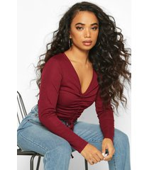 petite long sleeve ribbed ruched detail top, berry
