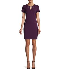 grommet scuba crepe shift dress
