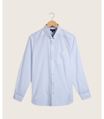 camisa manga larga, con bolsillo parche, estampado puntos