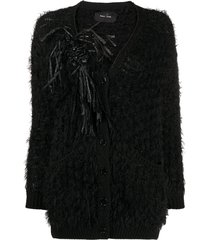 simone rocha embellished frayed cardigan - black