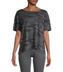 monrow women's camo-print cotton top - faded black - size xs