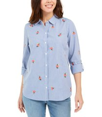 charter club printed woven shirt, created for macy's