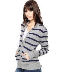 cardigan gris con azul ted bodin rayado, cierre y bolsillos