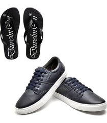 kit sapatãªnis masculino de couro e chinelo masculino conforto azul marinho - azul marinho - masculino - dafiti