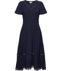 oc midi dress ss knälång klänning blå tommy hilfiger