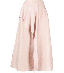 agnona draped layered full skirt - pink