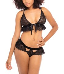 women's triangle cup bralette with functional front tie closure and matching panty set