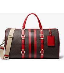 mk borsa per il weekend bedford travel extra-large con righe e logo - marrone/rosso brillante (rosso) - michael kors