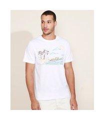camiseta masculina praia manga curta gola careca branca