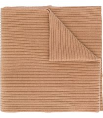 n.peal ribbed knitted scarf - brown