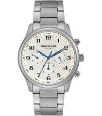 kenneth cole new york men's silver-tone stainless steel bracelet watch, 42mm