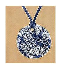 ceramic pendant necklace, 'underwater blooms' (thailand)