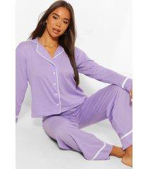 jersey pyjamabroekset met knopen, lila