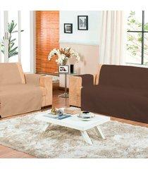 kit 2 protetor/capa de sofá dulpla face com porta controle casa dona matelado tabaco e bege