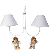 lustre 2l simples floresta com 2 leões quarto bebê infantil potinho de mel bege